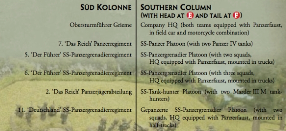 Roncey Pocket German Southern column and order of march led by Obersturmfuhrer Grieme's headquarters.