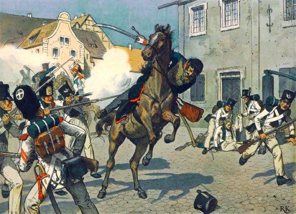 Death of von Schill by Dutch soldiers in Stralsund 1809.