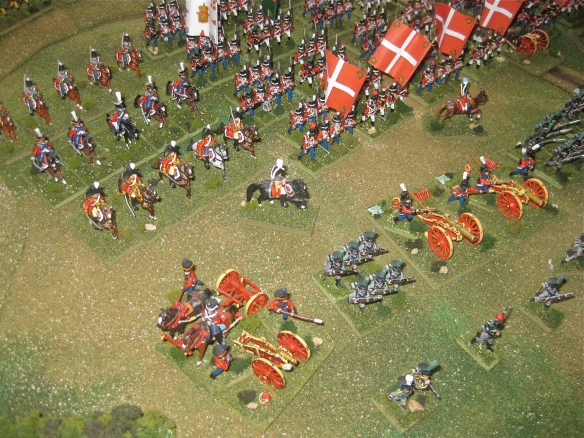 Close up right flank, Danish artillery, heavy horse cavalry and line regiments.