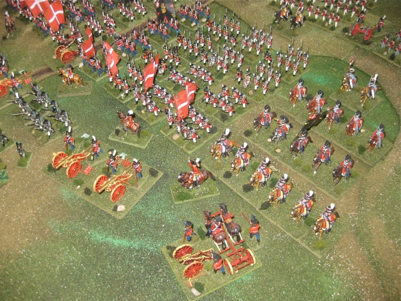Left flank close up. Danish light cavalry and artillery with line regiments behind.