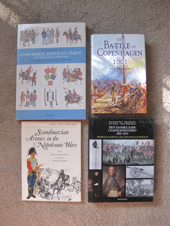 Various books on the Danish army and navy napoleonic wars.