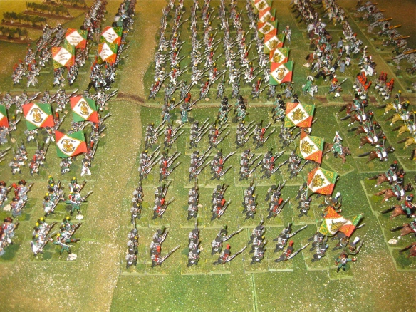 Left flank view of the Kingdom of Italy massed battalions. The four legere regiments with their dark green coats contrast with the white coats of the line regiments.
