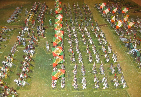 Left flank view of the Kingdom of Italy massed battalions. the white coats of the line regiments show smartly with the green / red facings.