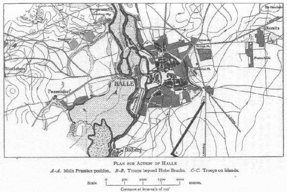 F L Petre map of the Battle of Halle 1806. French enter from left side while main Prussian deployment below Halle.