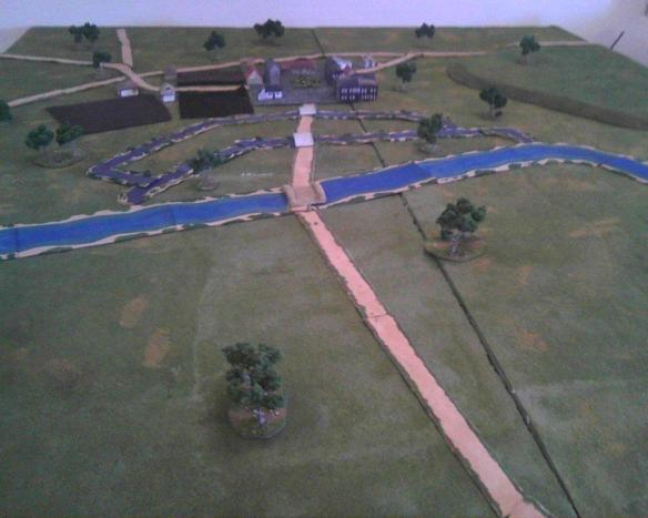 Tabletop view of the open battlefield, river, and streams with Halle in the distance.