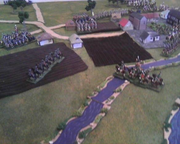 Some Frenchman figures out that the streams are not too deep. French cavalry slash across to attempt to cut off the marching main Prussian force columns.