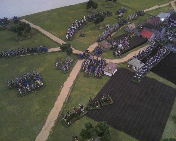 On the far side of Halle the Prussians are disengaging, or struggling to leave the area, against the advancing French.