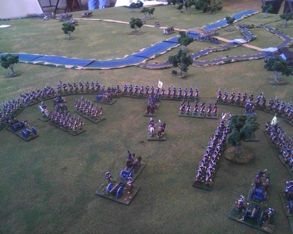Prussian starting main deployment on the hills south of Halle.