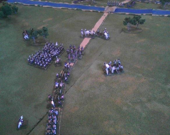 The successful Prussian advance guard cavalry repulse the French cavalry.