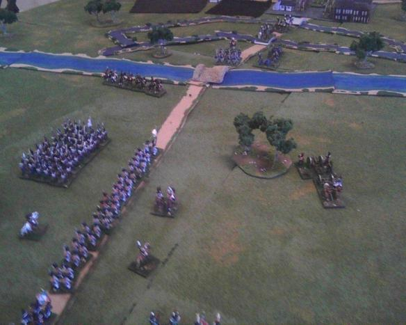 Too many Frenchmen. the Prussian advance guard cavalry quickly retire across the river Saale.