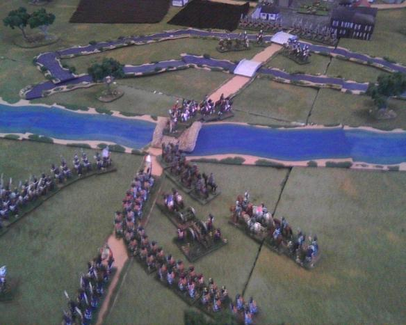 Bold French cavalry seize the river Saale bridge, cause flight of the fusilier battalion and seize the Prussian horse artillery detachment.