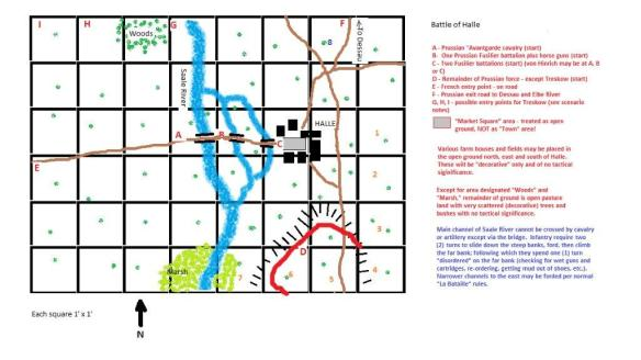 Scenario map for Battle of Halle 1806. Click on map then click on enlargement for better viewing.