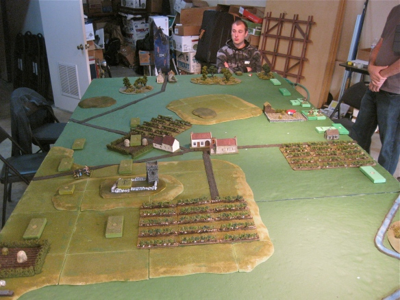 Peaceful Piedmont before the smoke of battle. the wooden blocks have been deployed. French on right, Austro-Sardinians on left.