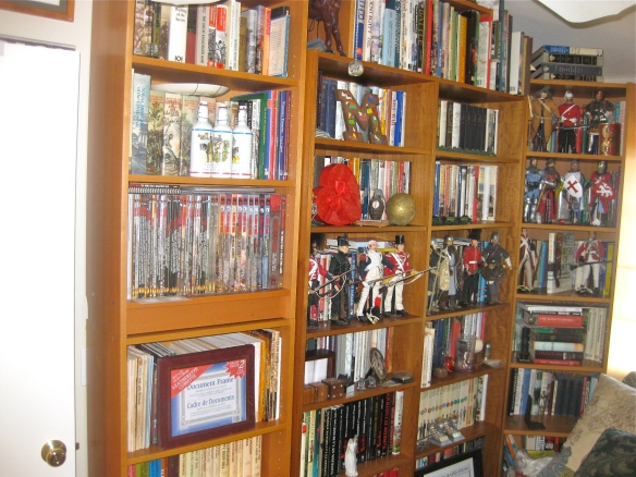 Another library wall of books. The last wall/closet has gaming materials, magazine collection and more shelves.