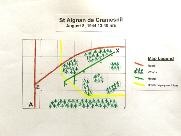 Scenario map for St Algnan de Cramesnil Normandy 1944.
