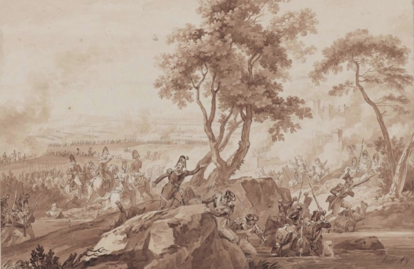 Scene print of the Battle of Raab 1809.