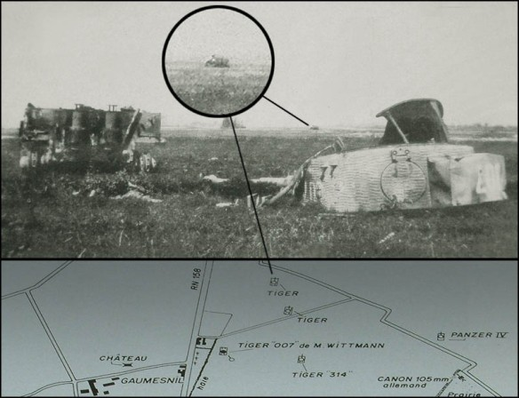 Photograph of the wrecked Tiger 007, taken by French civilian Mr. Serge Varin in 1945, still in the field near Gaumesnil where it had been stopped a year before.