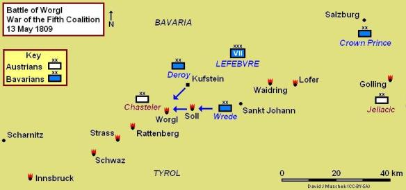 Situation map at time of the Battle of Worgl May 13, 1809