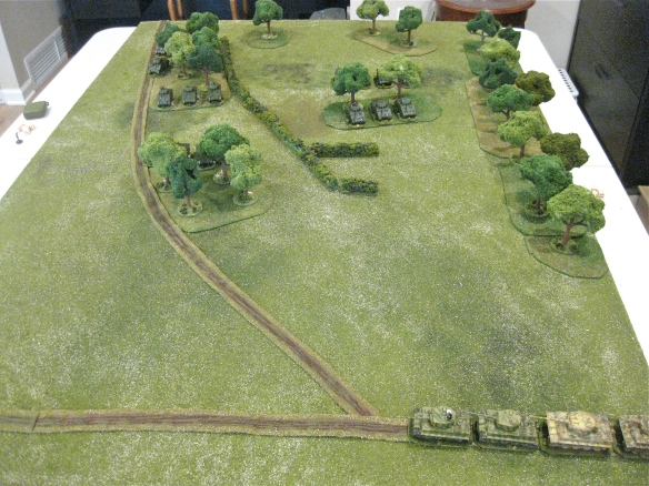 Opening scenario with Tigers lined up on roadway to start scenario.