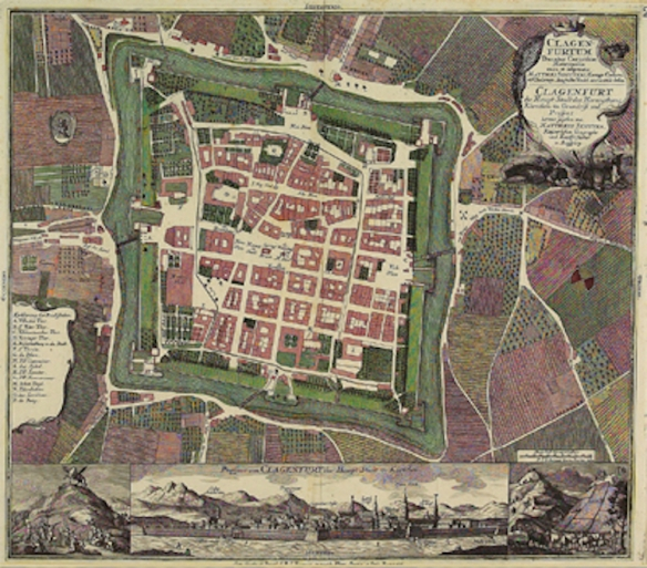 Klagenfurt map circa 1735 showing the street layout, fortress walls, city gates, and moat around the city.