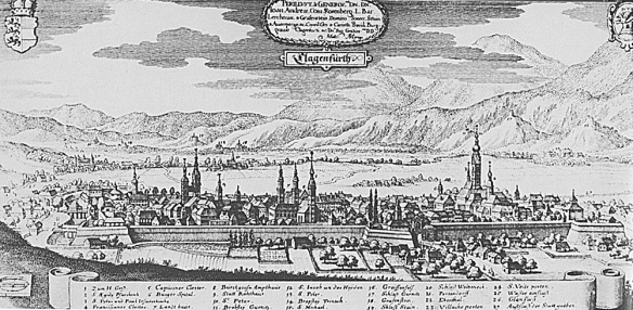 Klagenfurt fortess in 1649 clearly shows the walled city.