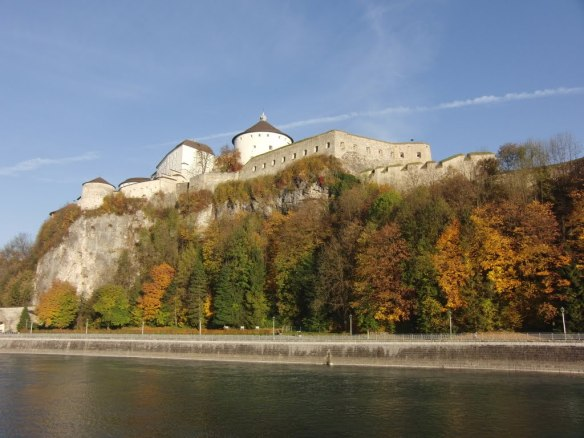 Kufstein fortress from the river view. Besieged by the Tyrolian insurgents and small detachments of Chasteler's corps.