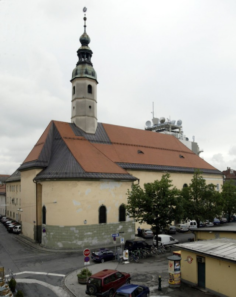 Marienkirche in Klagenfurt. the tower is probably the same which General Rucca observed the Austrian positions.
