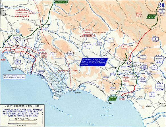 Anzio and Cassino sectors May 1994 showing American British attacks.