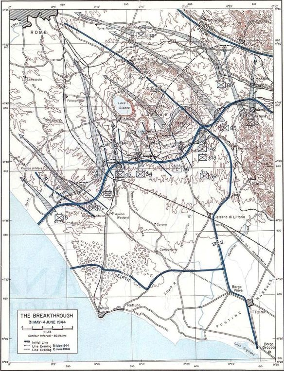 Anzio breakout towards Rome. Valmontone sector upper right corner of map.