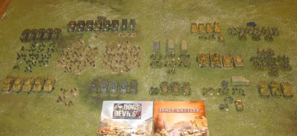 American and German platoons used in scenario. American on left, Germans on right.