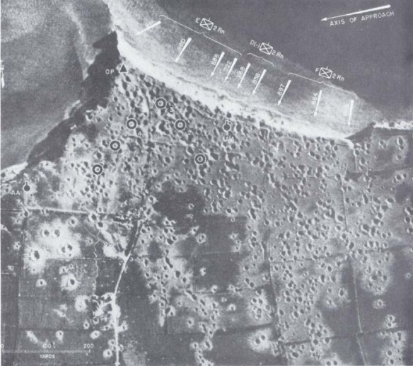 Clearly shows the bombardment effect and the empty - wrecked battery emplacement locations.