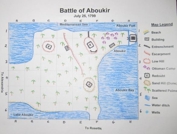 Scenario map for Battle of Aboukir 1799. North direction is off the top right corner.