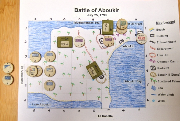 Battle of Aboukir 1799 initial set up.