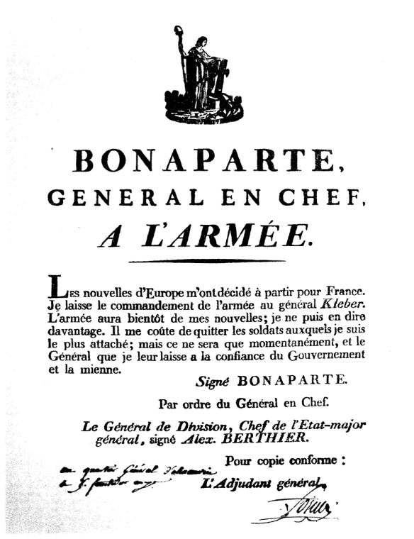 General Bonaparte's proclation to the Armee d' Orient August 25, 1799.