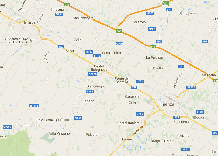 Google map Imola to Faenza area Wargamerabbit