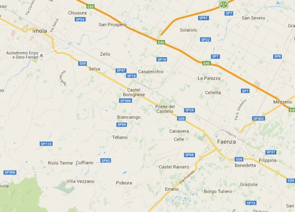 Google map of the area between Imola and Faenza with Castel Bologese between the two towns.