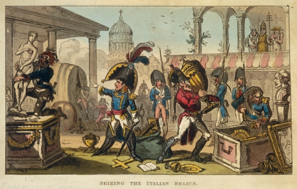 Bonaparte seizing the Italian relics. A political cartoon of the era.